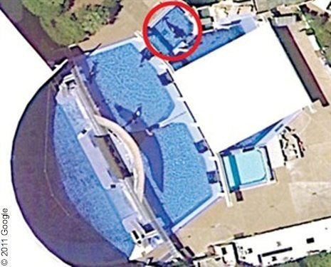 In this aerial view of SeaWorld, you can see how little room the orcas have. Inside the circle is Tilikum, whose nose and tail appear to be able to touch both sides of the tank at the same time.