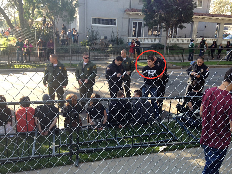 """""""Thomas Jones"""" arrested at protest"""