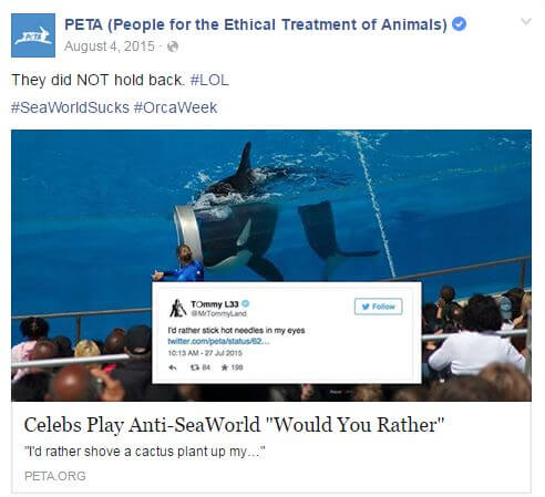SeaWorld Tweet FB Post