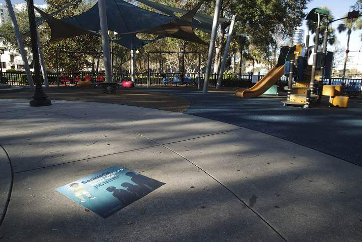 """'SeaWorld: Where Timeouts Never End"""" sidewalk decal at Orlando playground"""