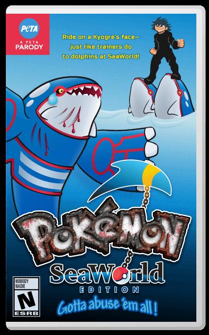 peta pokemon seaworld parody game box art